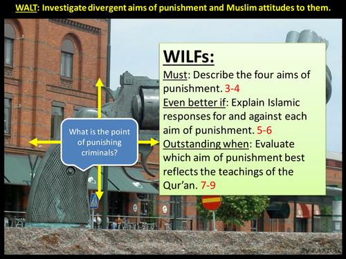 Investigate divergent aims of punishment and Muslim attitudes to them