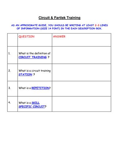 GCSE PE- Circuit & Fartlek training homework sheet.