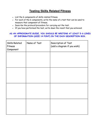 GCSE PE- Testing skills related fitness homework