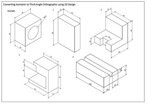 Isometric and Orthographic Conversion Worksheets by