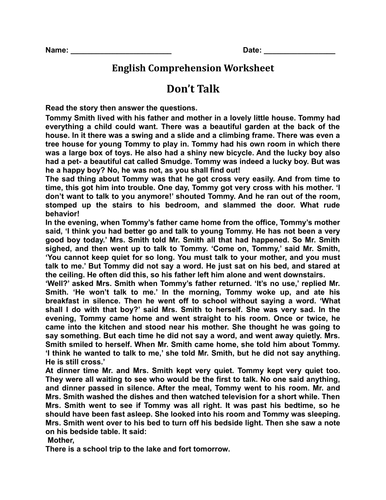 'Don't Talk' English Comprehension Worksheet with Complete Answer Key