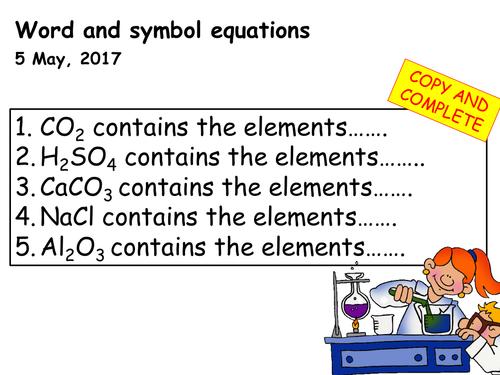 Word, symbol and balancing equations lesson
