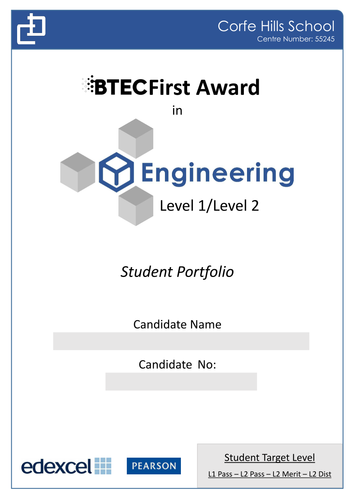 BTEC Level 2 Engineering: Portfolio Front Cover