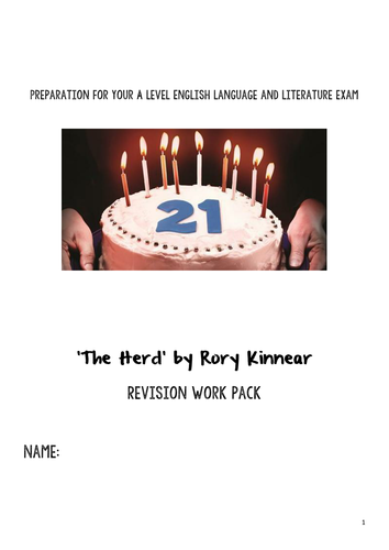 'The Herd' by Rory Kinnear revision workbook for AQA LangLit A Level
