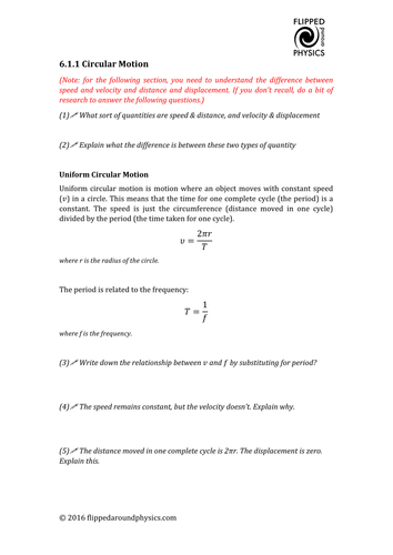 Circular motion recap worksheet and answers by mrdenneyteacher ...