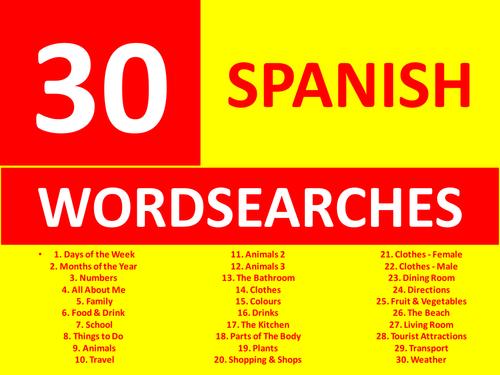 30 spanish wordsearches gcse or ks3 keyword starters wordsearch homework or cover lesson by. Black Bedroom Furniture Sets. Home Design Ideas