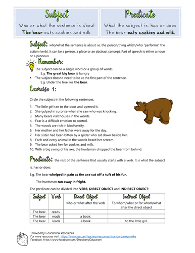 The Sentence: Subject and Predicate Worksheet