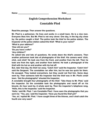 'Constable Plod' English Comprehension Worksheet With Answers