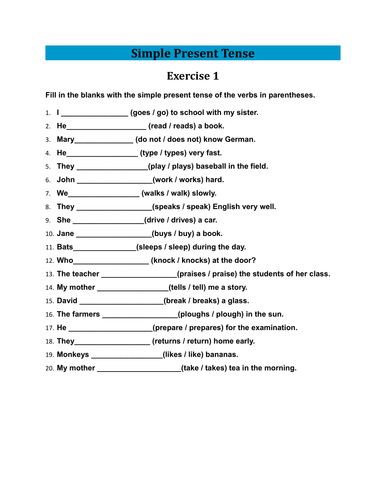 Exercises of Simple Present Tense With Answers