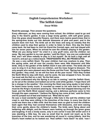 'The Selfish Giant' English Comprehension Worksheet