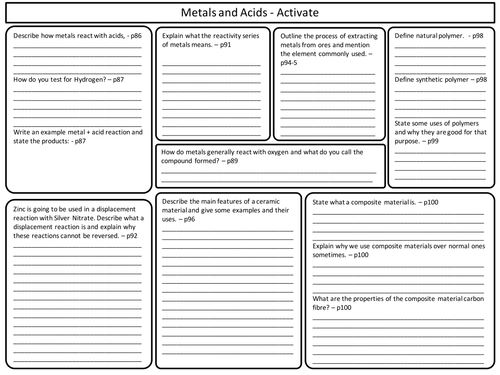 ks3 activate science metals and acids revision worksheet by marcmarshall teaching resources tes. Black Bedroom Furniture Sets. Home Design Ideas