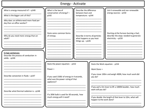 KS3 Activate Science - Energy Topic Revision Worksheet