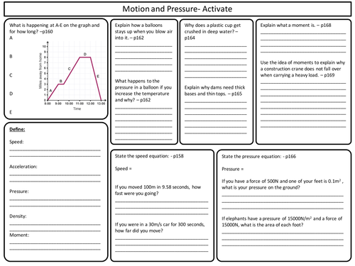 ks3 activate science motion and pressure topic revision worksheet by perigeescienceresources. Black Bedroom Furniture Sets. Home Design Ideas
