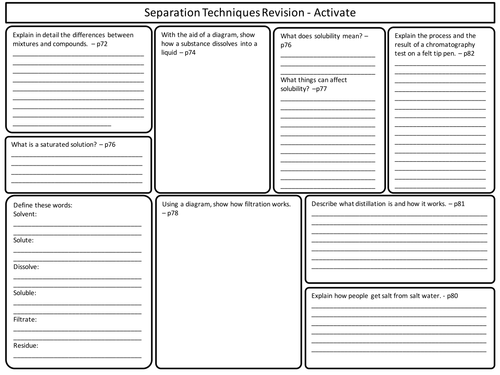 KS3 Activate Science - Separation Techniques Topic Revision Worksheet