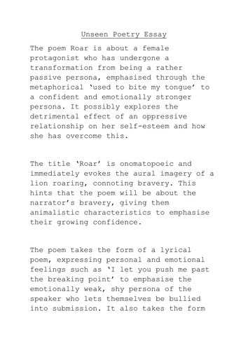 Unseen Poetry Analysis