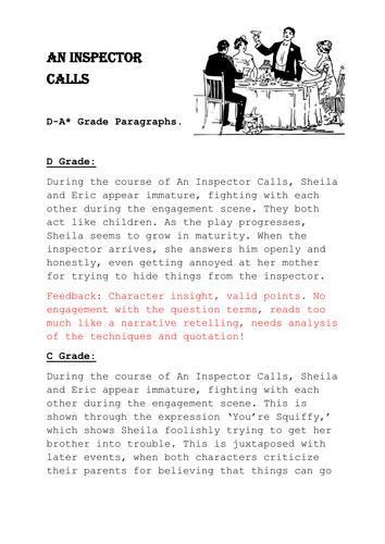 An Inspector Calls D-A* Sample Paragraphs