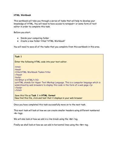Learning HTML Workbook 1