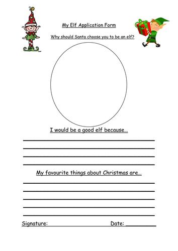 Christmas Activity Elf Application Form