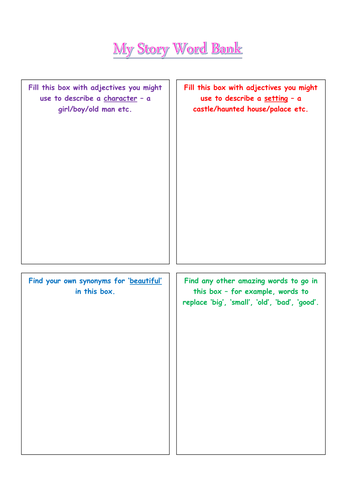 Story word bank template for thesaurus synonym activity by hoperitchie teaching resources tes for Synonym template