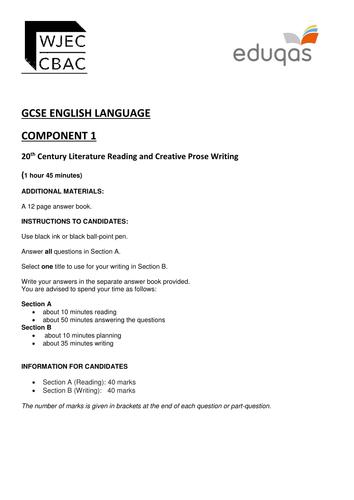 Eduqas GCSE English Language Component 1 - Practice Examination Papers
