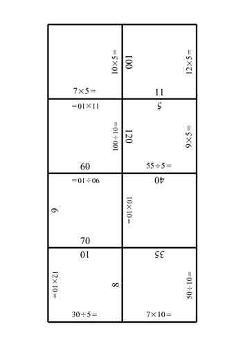 Free 5x and 10x table puzzles