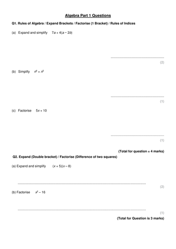 GCSE Maths Higher Exam Practise Questions on Algebra - One Question Per  Topic