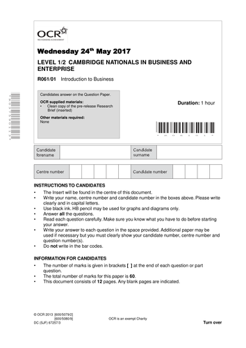 Mock Papers for Cambridge Nationals HVS 2017 Business Studies