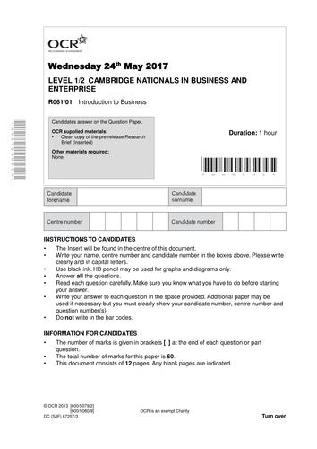Mock papers Cambridge Nationals HVS 2017 Business Studies (4&5)