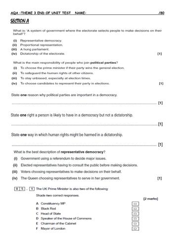 NEW AQA GCSE CITIZENSHIP Theme 3 end of unit test & resit paper