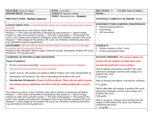 Themarketing mix [Product]IGCSE Business Studies. Syllabus unit 3.3