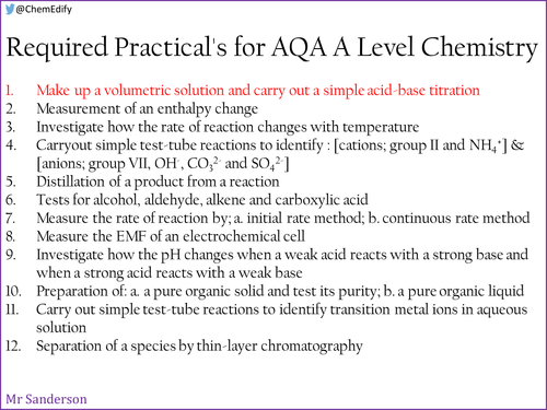 AQA A Level Chemistry Required Practical 1 - Standard solutions and titrations