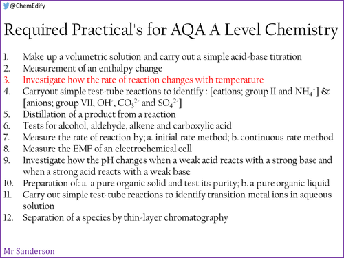 AQA A Level Chemistry Required Practical 3 - Rate of reaction and temperature