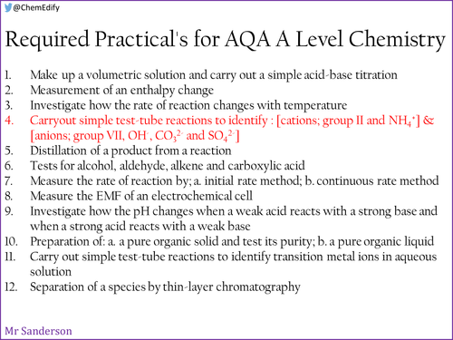 AQA A Level Chemistry Required Practical 4 - Identifying aqueous anions and cations