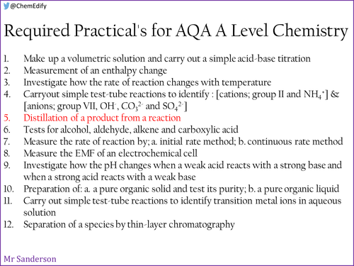 AQA A Level Chemistry Required Practical 5 - Distillation