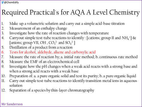AQA A Level Chemistry Required Practical 6 - Testing for organic compounds