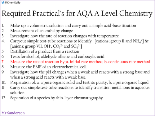 AQA A Level Chemistry Required Practical 7 - Measuring rates