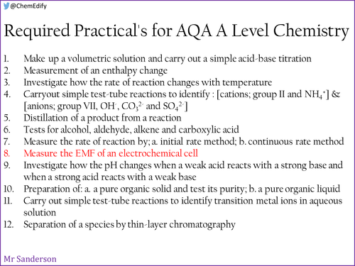 AQA A Level Chemistry Required Practical 8 - Measure the EMF of an electrochemical cell