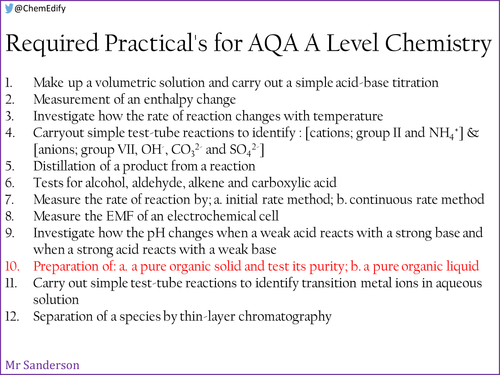 AQA A Level Chemistry Required Practical 10 - Preparation of organic compounds
