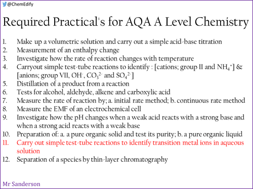 AQA A Level Chemistry Required Practical 11 - Testing for aqueous transition metal ions