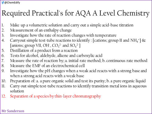 AQA A Level Chemistry Required Practical 12 - Thin lay chromatography