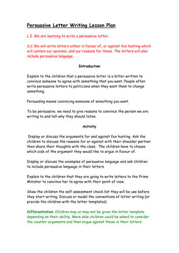 Persuasive Letter With Context of Fox Hunting Lesson Plan by