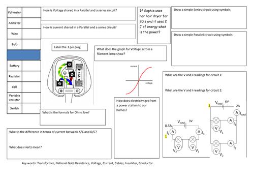 P2 Electricity revision mat.