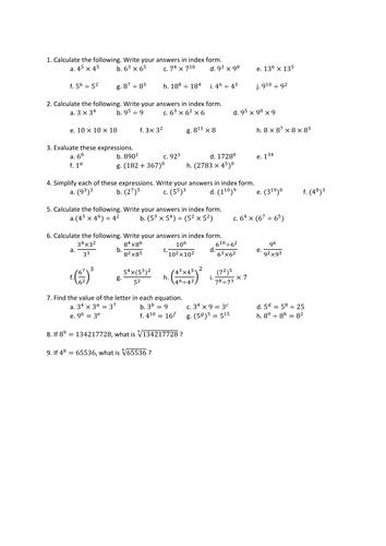 Algebra - Indices