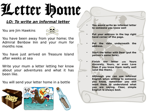 Treasure Island- Letter Writing