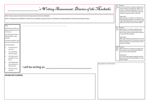 Writing Assessment Planning Sheet - Macbeth Diaries