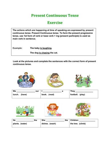 present continuous tense exercises pdf