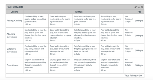 Flag Football Rubric and lesson for upper primary to high school. Lesson number 3