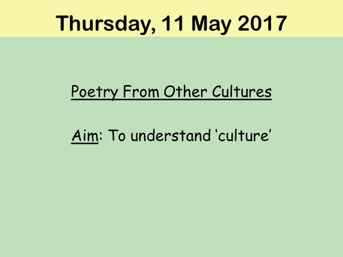 Full scheme of work-  Poetry from other cultures.