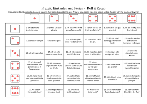 Roll it revision game