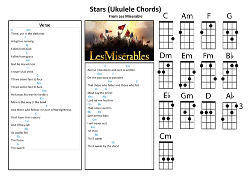 Stars Les Miserables Piano And Ukulele Chords By Dcgoodier